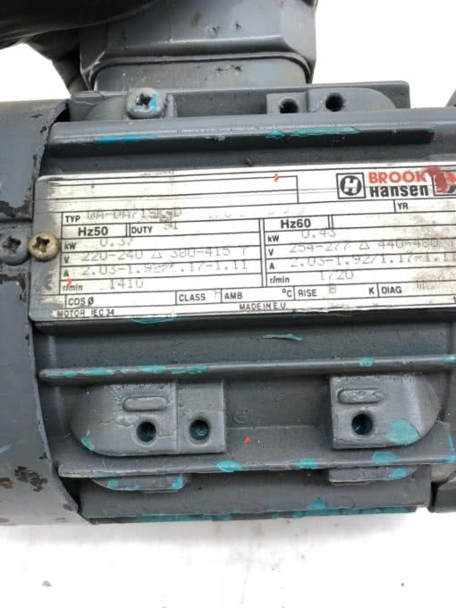 BROOK HANSEN WA-DA71SK-D AC MOTOR 1410/1720 RPM, 220-240/254-277 VAC, (B431) 2