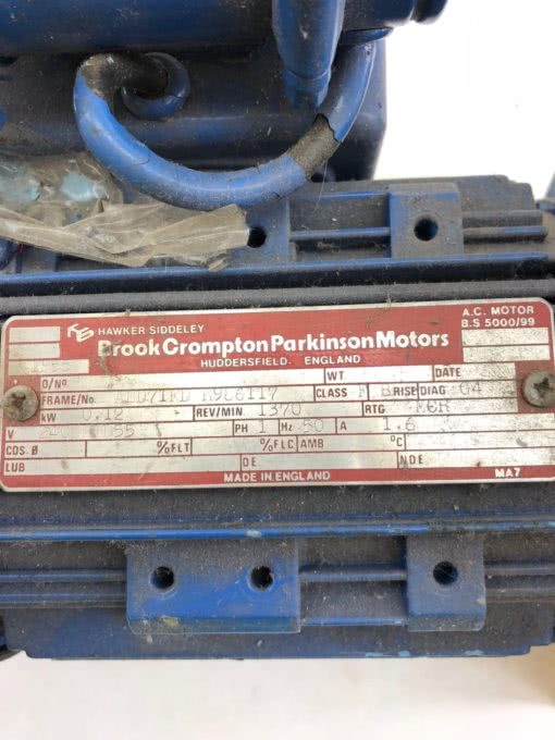 BROOK CROMPTON PARKINSON ELECTRIC AC MOTOR AED71D H986117 SINGLE PHASE (B431) 2
