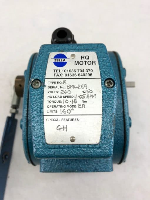 USED ZELLA RQR MOTOR RANGE W/ LEVER 240VAC 50HZ 2A 32 RPM DOWN TO 60 MPR, (B431) 2