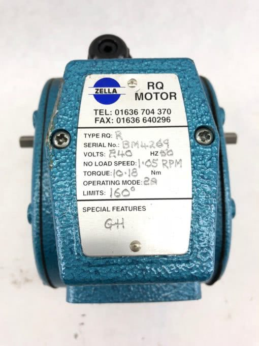 USED ZELLA RQR MOTOR RANGE NO LEVER 240VAC 50HZ 2A 32 RPM DOWN TO 60 MPR, (B431) 2