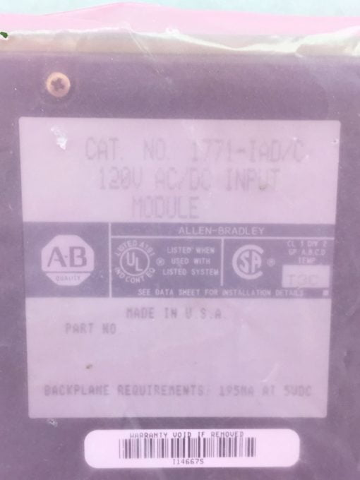 NEW! ALLEN BRADLEY 1771-IAD AC/DC INPUT MODULE (H62) 2
