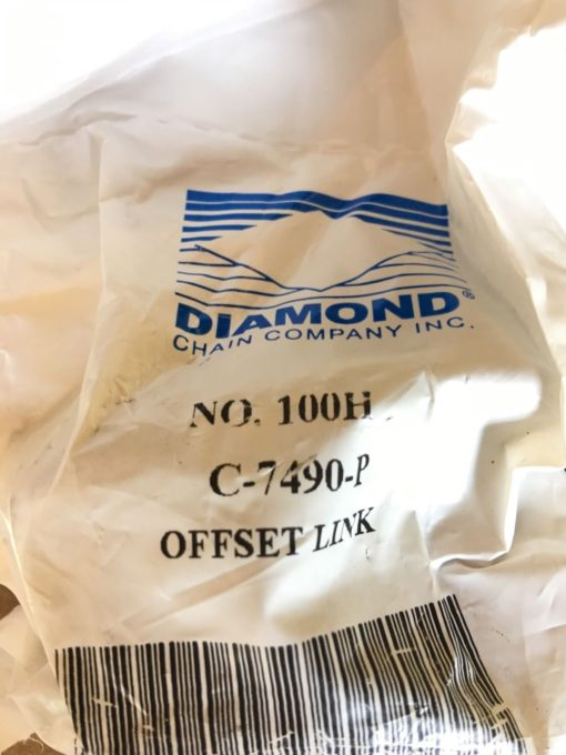 NEW IN BAG LOT OF 6 Diamond Chain Company 100H OFFSET LINK C-7490-P, B367 2