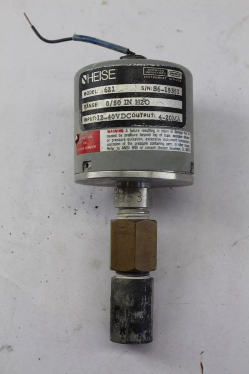 Heise 621 Pressure Transducer 0/50 IN H20 12-40VDC *FOR PARTS* (B249) 1