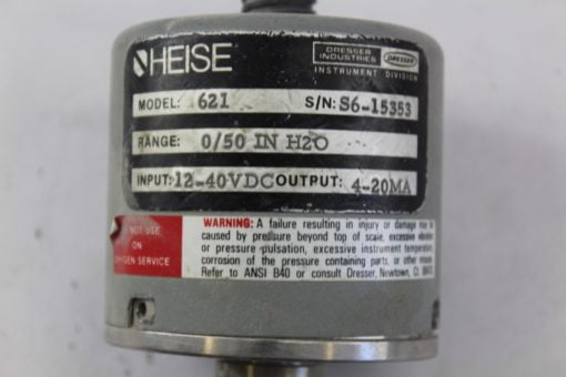 Heise 621 Pressure Transducer 0/50 IN H20 12-40VDC *FOR PARTS* (B249) 2