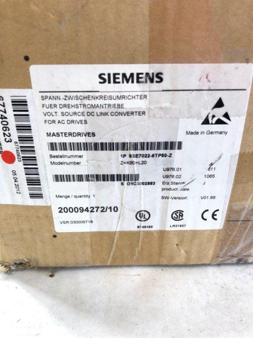 NEW SIEMENS 6SE7022-6TP50-Z 3 PHASE MASTERDRIVES MC DC/AC DRIVE, FAST SHIP! 4
