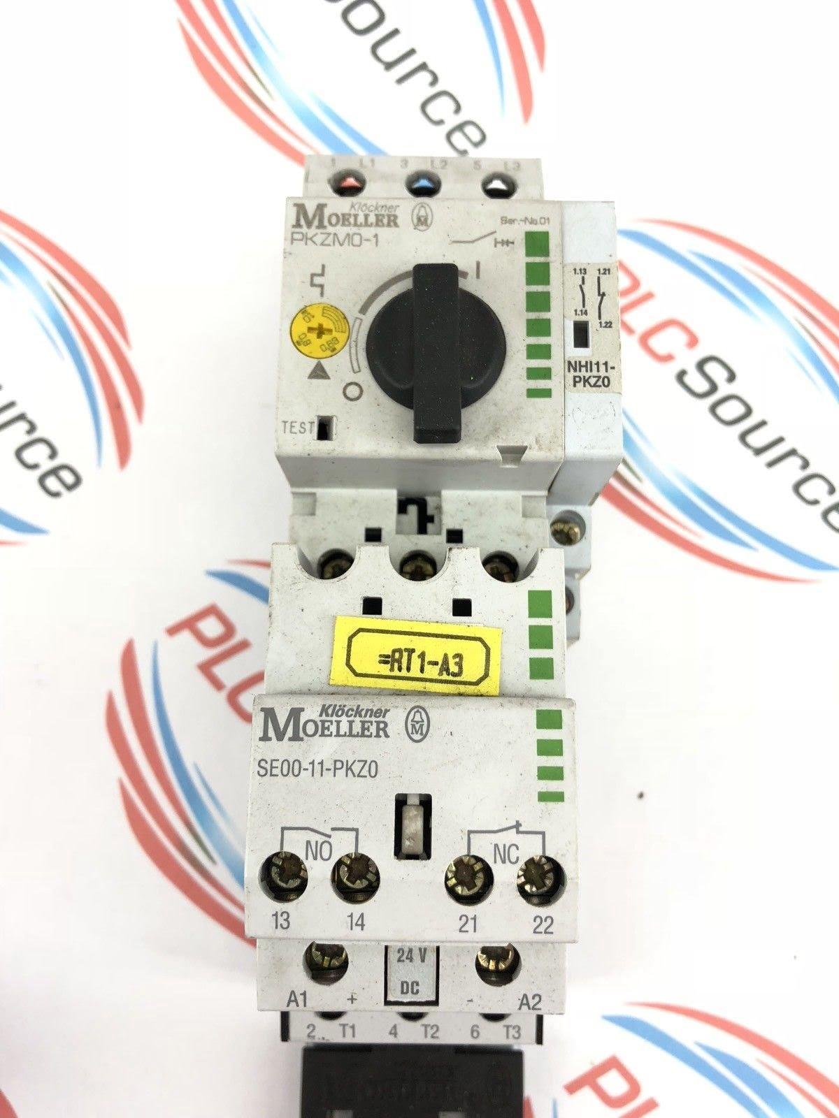KLOCKNER MOELLER MOTOR STARTER PKZM0-1 W/ CONTACTOR SE00-11-PKZ0