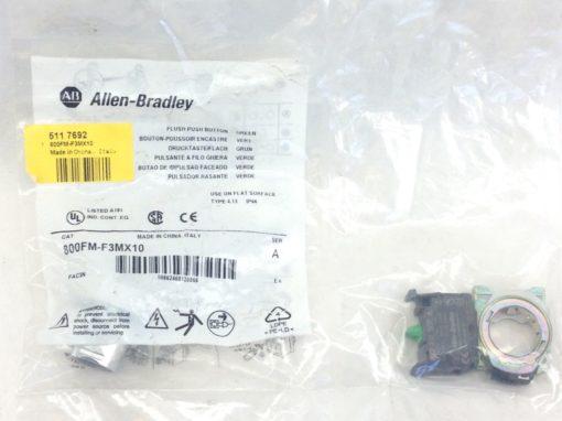 ALLEN BRADLEY 800FM-F3MX10 SERIES A FLUSH PUSH BUTTON GREEN (A758) 1