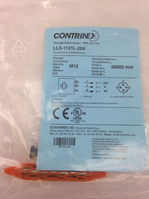 CONTRINEX THROUGH-BEAM SENSOR LLS-1121L-204 (A773) 2