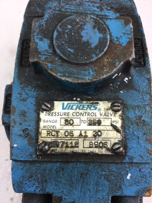 USED VICKERS RCT-06-A1-30 597112 PRESSURE CONTROL VALVE, FAST SHIP! (HP PT) 1