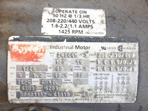 DAYTON INDUSTRIAL MOTOR # 2N864M HP 1/3 RPM 1725/1425 VOLT 208-220/440 (B55) 2