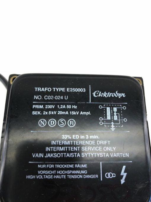 USED ELEKTRODYN TRAFO IGNITION TRANSFORMER E250003 C02-024, FAST SHIP! (B412) 2