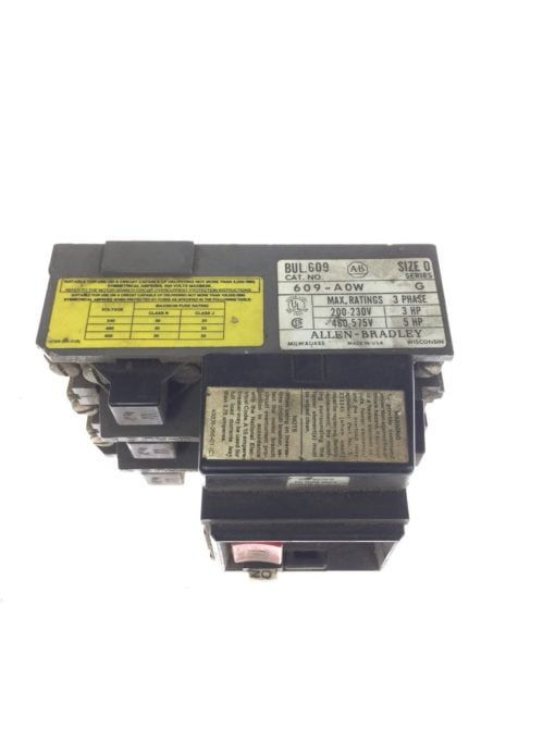 USED Allen Bradley 609-A0W Manual Starting Main Switch 460/575V 5HP 3 Phase, G66 2
