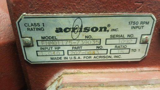 ACRISON FEEDER GEAR BOX: FHMQ1175-739035 / PN: 207-0083 *USED* (B204) 3