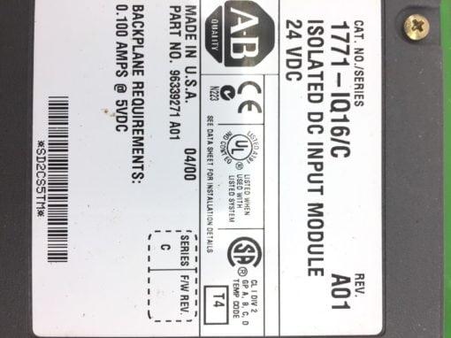 Allen Bradley 1771-IQ16 C Isloated DC Input Module 24 VDC 60 DAY WARRANTY (H248) 2