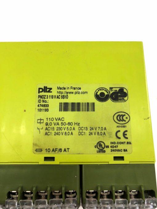 USED PILZ PNOZ 3 110VAC 5S10 50/60HZ SAFETY RELAY, PNOZ3, FAST SHIP! (B413) 2