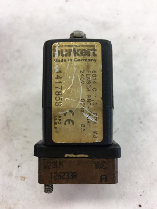 USED GREAT CONDITION BURKERT 141785S SOLENOID VALVE, 240V, 60HZ, 8W, (SB5) 2