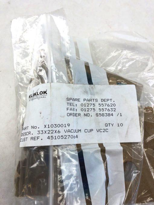 NEW PACKAGE OF 10 KLIKLOK X1030019 33X22X6 VACCUM CUP VC2C, FAST SHIP! (H336) 2