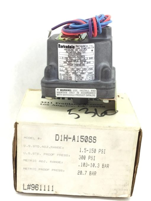 NIB! BARKSDALE D1H-A150SS PRESSURE or VACUUM ACTUATED SWITCH (H280) 1