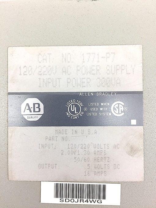 AB ALLEN BRADLEY PLC POWER SUPPLY 16 AMP 120/220 VAC MODEL 1771-P7 USED (B26) 2