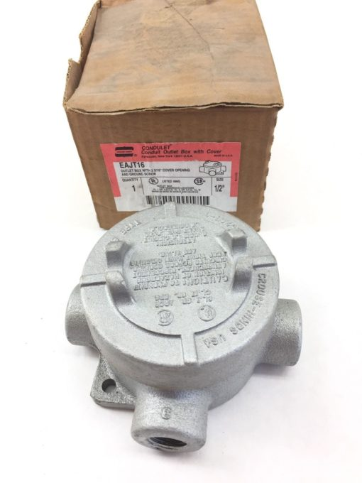 EAJT16 CROUSE HINDS OUTLET BOX W/ 3-3/16″ COVER OPENING SIZE: 1/2″ EAJT-16 (TLO) 1