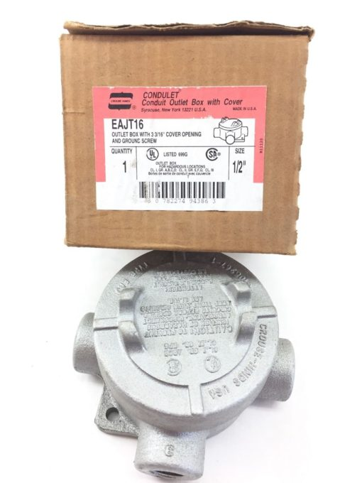 EAJT16 CROUSE HINDS OUTLET BOX W/ 3-3/16″ COVER OPENING SIZE: 1/2″ EAJT-16 (TLO) 2