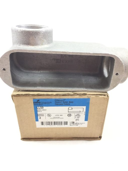 CROUSE-HINDS BY EATON CONDUIT OUTLET BODY LL59 1-1/2″ MARK 9 NEW BOX OF 2 (TLO) 2
