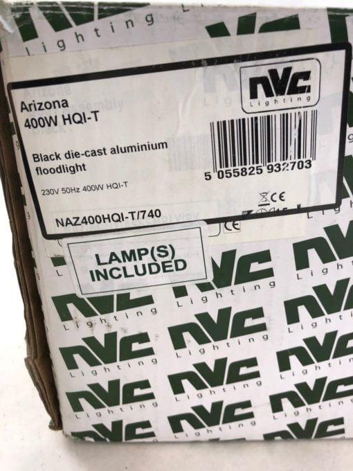 NEW NVC ARIZONA NAZ400HQI-T/740 FLOODLIGHT 400W HQI-T METAL HALIDE BLACK (TLO) 1