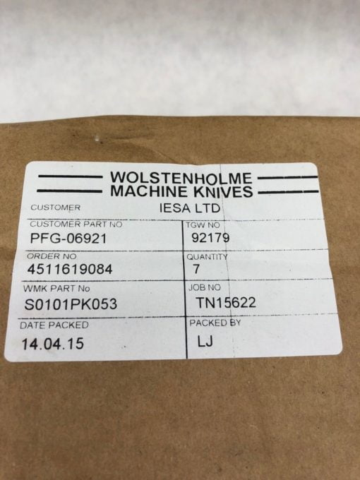 LOT OF 7 NEW IN BOX Wolstenholme Machine Knives TGW 92179 WMK # S0101PK053 (B331 2