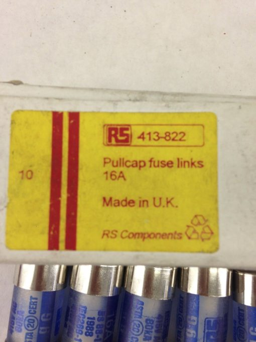RS 413-822 PULLCAP FUSE LINKS 16A BOX OF 10 (A849) 2