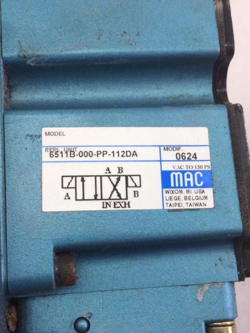 USED MAC 6511B-000-PP-112DA 6511B-512-P DBL SOLENOID VALVE W/ MANIFOLD (B390) 4