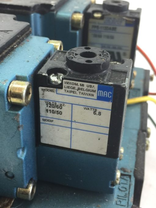 USED MAC 6511B-000-PP-112DA 6511B-512-P DBL SOLENOID VALVE W/ MANIFOLD (B390) 6
