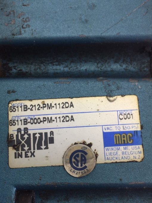 USED MAC 6511B-000-PM-112DA & 6511B-512-PM-1120A SOLENOID VALVE, MANIFOLD (B390) 2