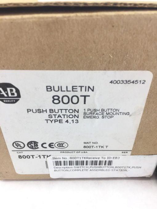 ALLEN BRADLEY 800T-1TKT PUSH BUTTON SURFACE MOUNTING EMERGENCY STOP NEW (B30) 2