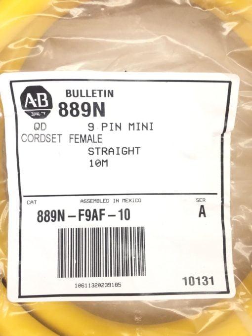 ALLEN BRADLEY 889N-F9AF-10 SERIES A CORDSET 9 POLE FEMALE STRAIGHT 10M (B60} 2