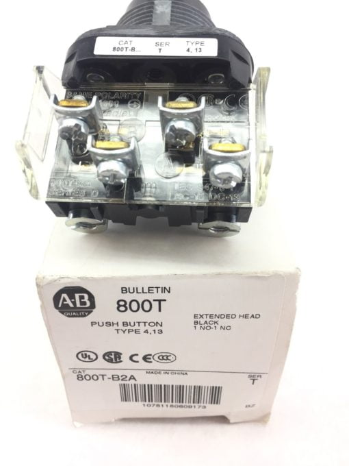 ALLEN BRADLEY 800T-B2A EXTENDED HEAD BLACK 1NO 1NC PUSH BUTTON NEW IN BOX! (H92) 2