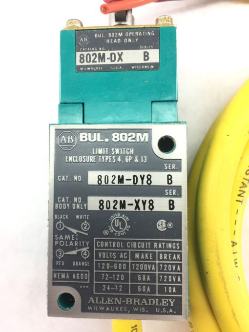 ALLEN BRADLEY 802M-DY8 PRE-WIRED FACTORY SEALED LIMIT SWITCH ROLLER TYPE (B25) 2