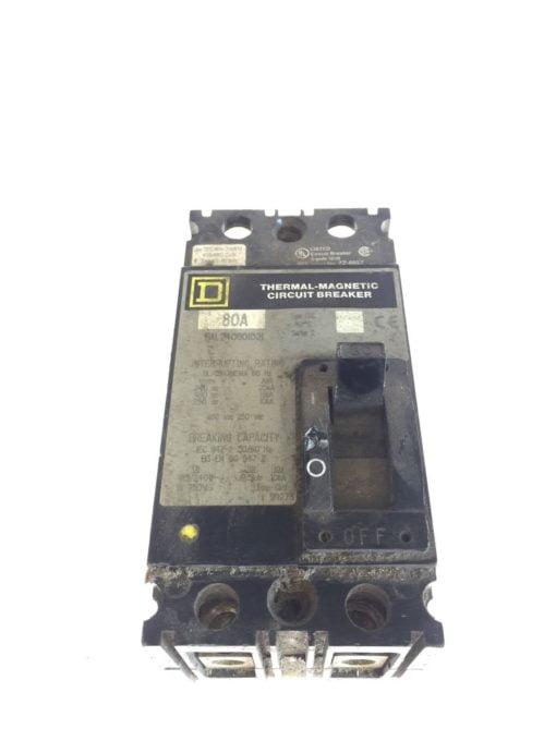 USED SQUARE D CIRCUIT BREAKER, FAL240801021, 80 AMP, 480 VOLT, 2 POLE, G96 1
