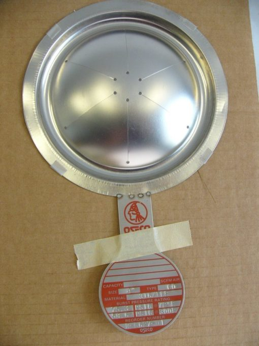 LOT OF 3 OSECO RUPTURE DISCS #R-6627-01 SIZE:4 TYPE:CO MATERIAL:316-TEF (B138) 1