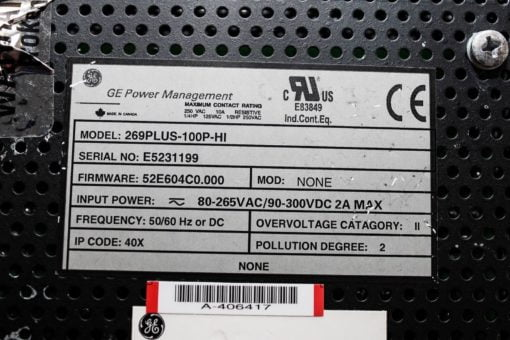 GE 269PLUS-100P-HI 269 PLUS MOTOR MANAGEMENT RELAY FOR PARTS ONLY (B138) 3