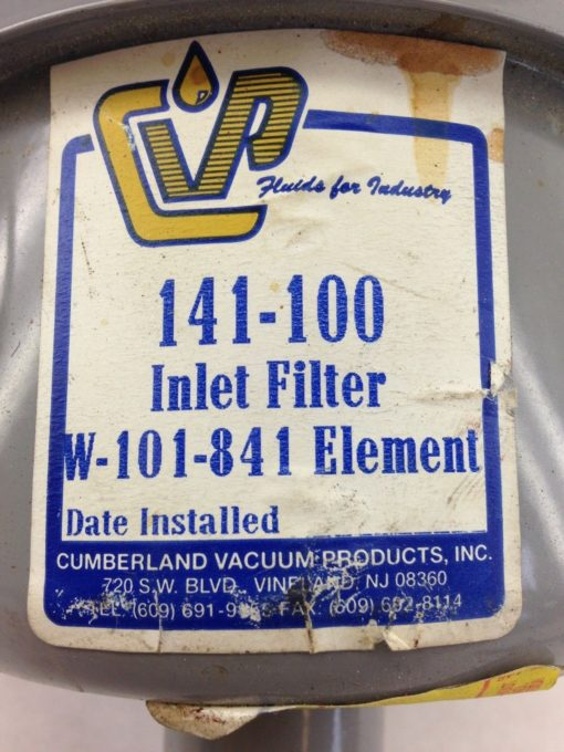 ACUUM PRODUCTS 141-100 INLET FILTER W-101-841 ELEMENT (F287) 2