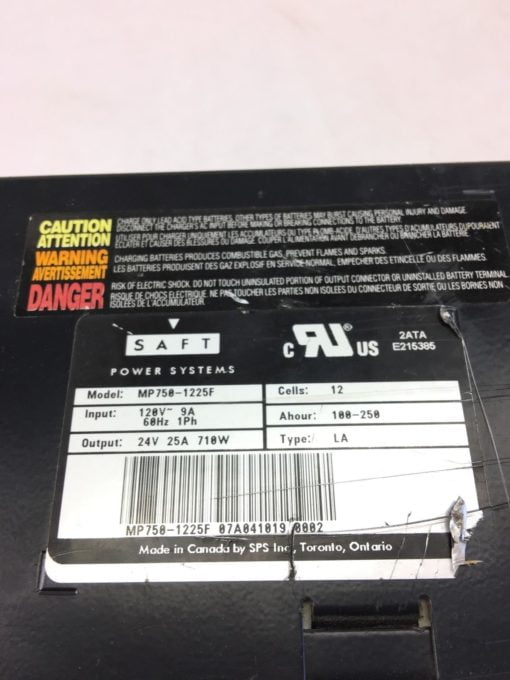 USED Saft Systems Forklift Jack Battery Charger MP750-1225F, 12 CELLS, (B332) 2