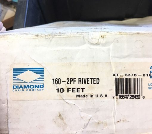 Diamond Chain 160-2PF DBL Riveted, 10 Feet, XT-5378-010, XT5378010 (B333/B201F) 2