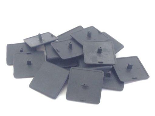 "2""sq BLACK PLASTIC FLAT HOLE COVER CAP PLATES 16-PK (F286) 1"