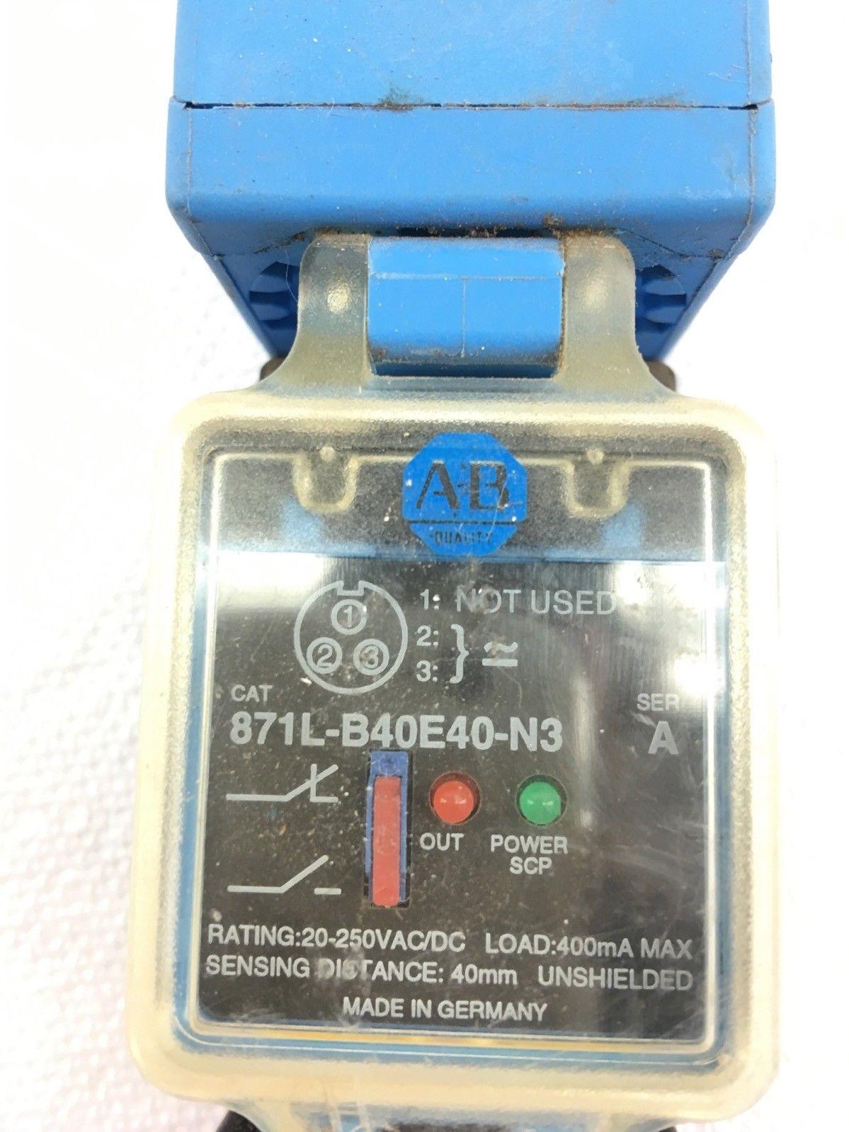 USED ALLEN BRADLEY 871L-B40E40-N3 SERIES A INDUCTIVE PROXIMITY SENSOR, (A594) 2