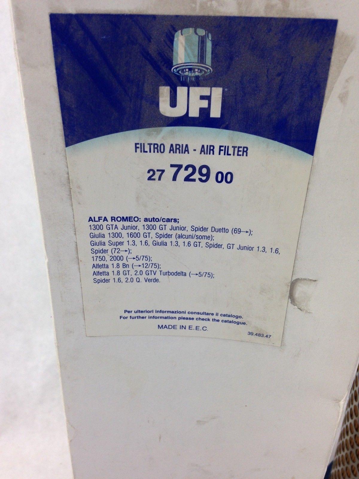 UFI 27 729 00 AIR FILTER ALFA ROMEO 1300 GTA (B443) 2