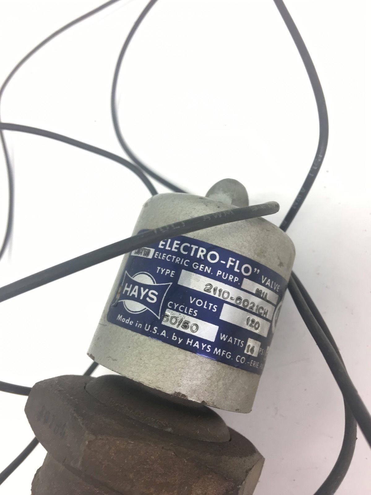 NEW Hays 2110-6021CH Electro-Flo Solenoid Valve 120VAC, 14 WATTS, 50 PSI, F228 2