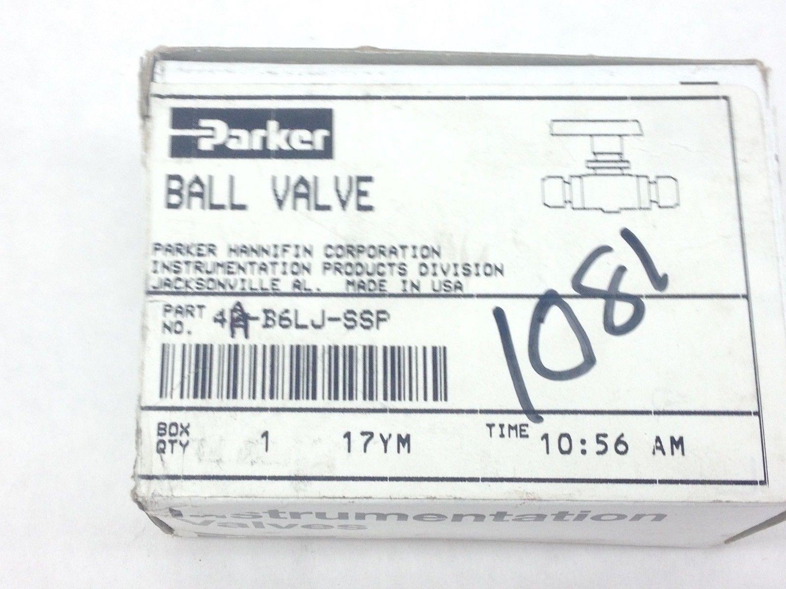 PARKER 4A-B6LJ-SSP BALL VALVE (A833) 1