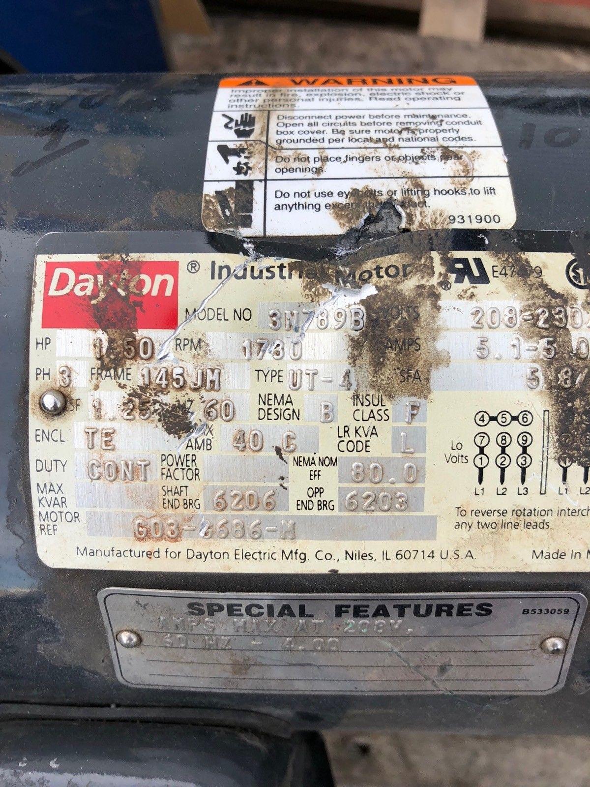 USED DAYTON 3N789B MOTOR 1