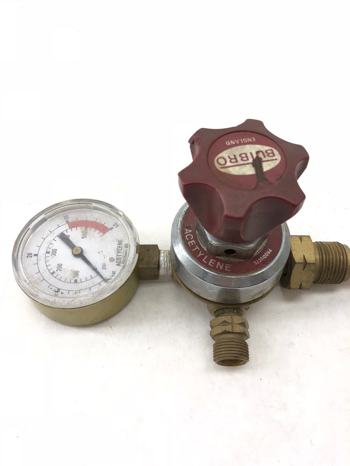 USED BUTBRO VALVE ACETYLENE GAUGE 0-40 BAR 0-580 PSI, FAST SHIP! (H2) 2