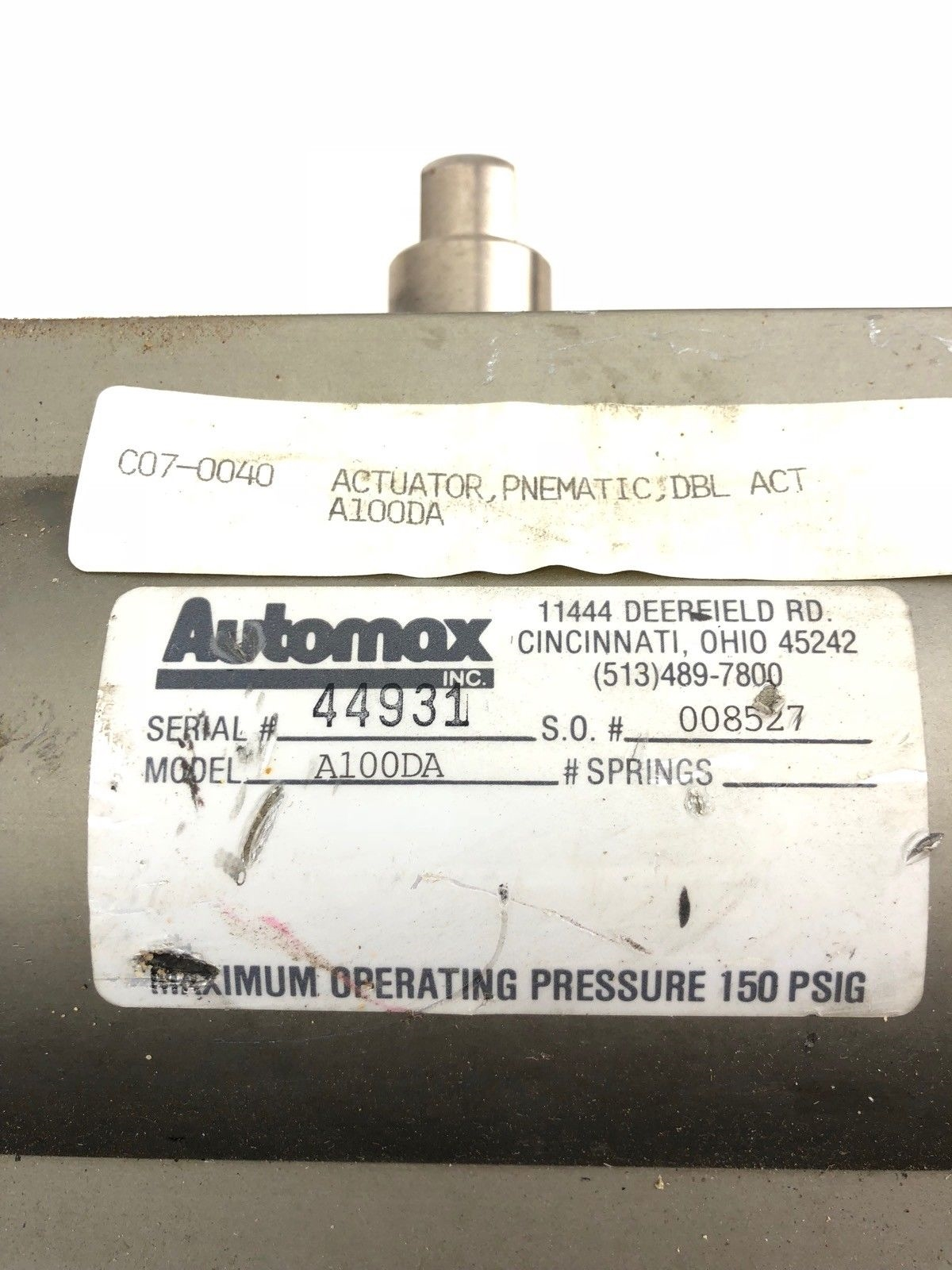 USED AUTOMAX A100DA PNEUMATIC ACTUATOR DOUBLE ACTION, FAST SHIP! 2